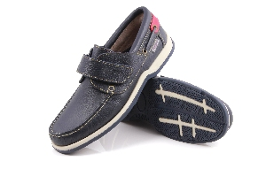 Como - Soft navy (velcro) Boat Shoe (Man)