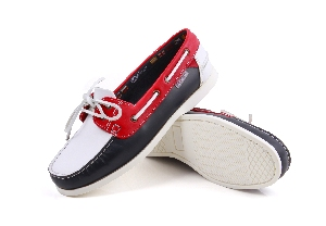 First - PU navy/white/red Boat Shoes (Woman)