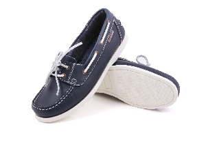 First - PU navy Boat Shoes (Woman)
