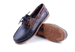 Bonifacio - Navy/brown Boat Shoe (Man)